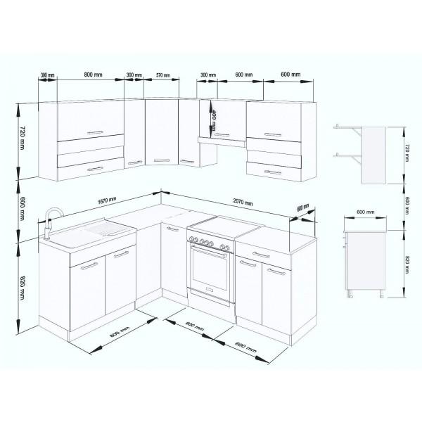 Küchenzeilen ALINA 210x170 CREAMELACK , küche, KCHENZEILE, KCHENBLOCK, WINKELKCHE
