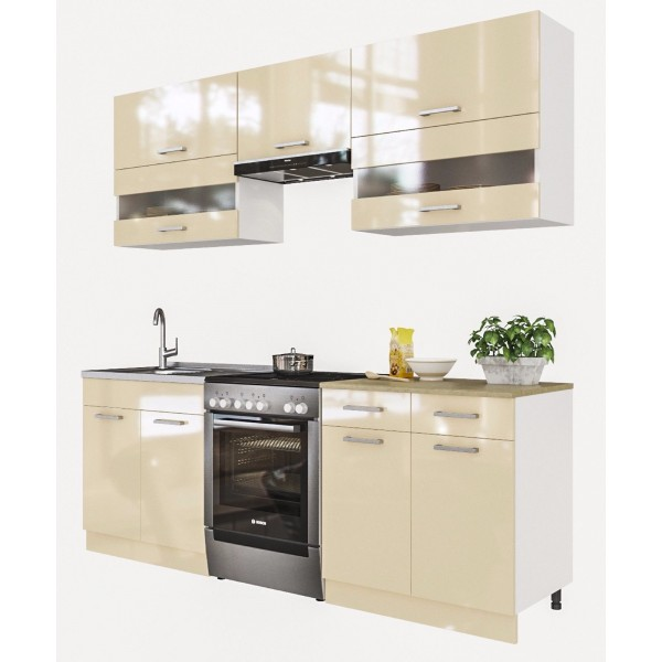 Küchenzeilen ALINA 220 CREAMELACKIERT , küche, KCHENZEILE, KCHENBLOCK, WINKELKCHE