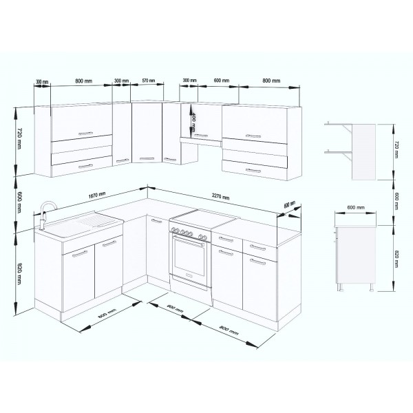 Küchenzeilen ALINA 230x170 CREAMELACK , küche, KCHENZEILE, KCHENBLOCK, WINKELKCHE