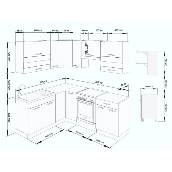 Küchenzeilen ALINA 210x170 TRÜFFEL-SONOMA , küche, KCHENZEILE, KCHENBLOCK, WINKELKCHE
