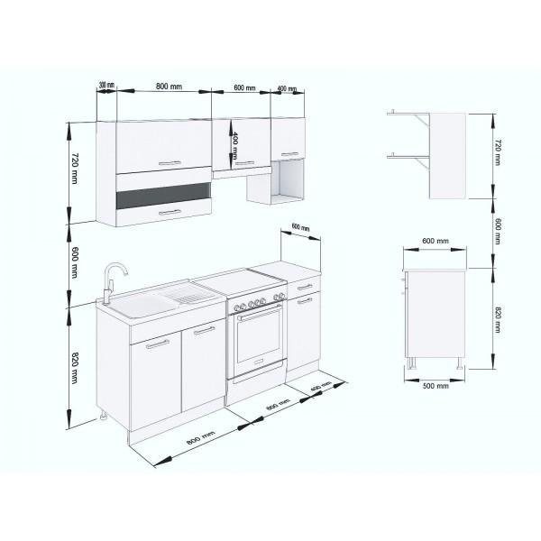 Küchenzeilen ALINA 180 WEIßLACKIERT , küche, KCHENZEILE, KCHENBLOCK, WINKELKCHE