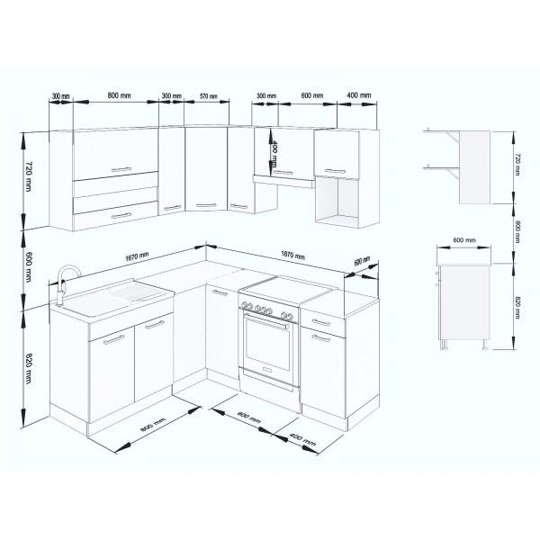 Küchenzeilen ALINA 190x170 WEIßLACK , küche, KCHENZEILE, KCHENBLOCK, WINKELKCHE