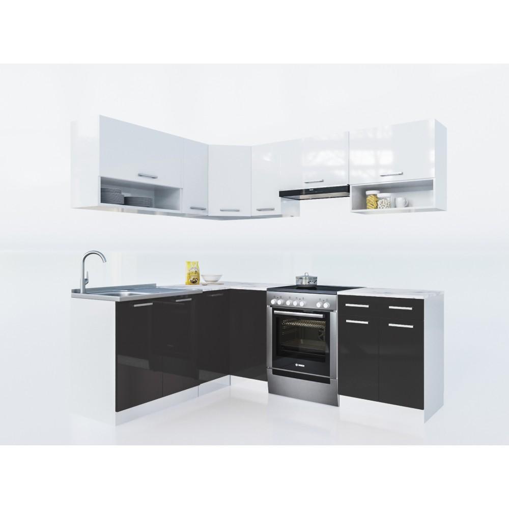 k che lux 210 cm schwarz preis kaufen k chenzeile in frankfurt wiesbaden. Black Bedroom Furniture Sets. Home Design Ideas