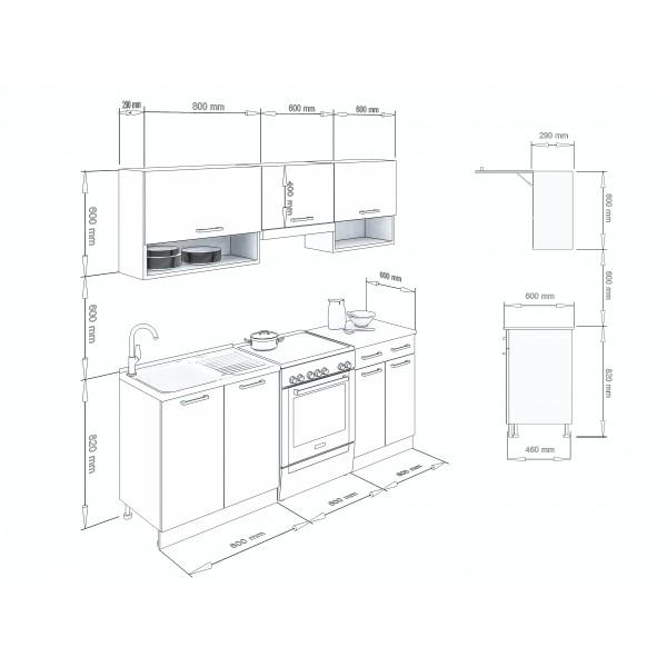 Küchenzeilen LUX 200 SCHWARZ , küche, KCHENZEILE, KCHENBLOCK, WINKELKCHE