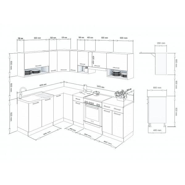 Küchenzeilen LUX 250 ROT , küche, KCHENZEILE, KCHENBLOCK, WINKELKCHE