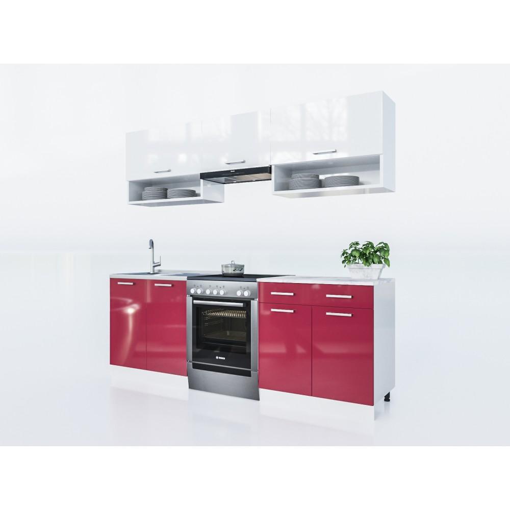 k che lux 220 cm rot preis kaufen k chenzeile in frankfurt wiesbaden. Black Bedroom Furniture Sets. Home Design Ideas