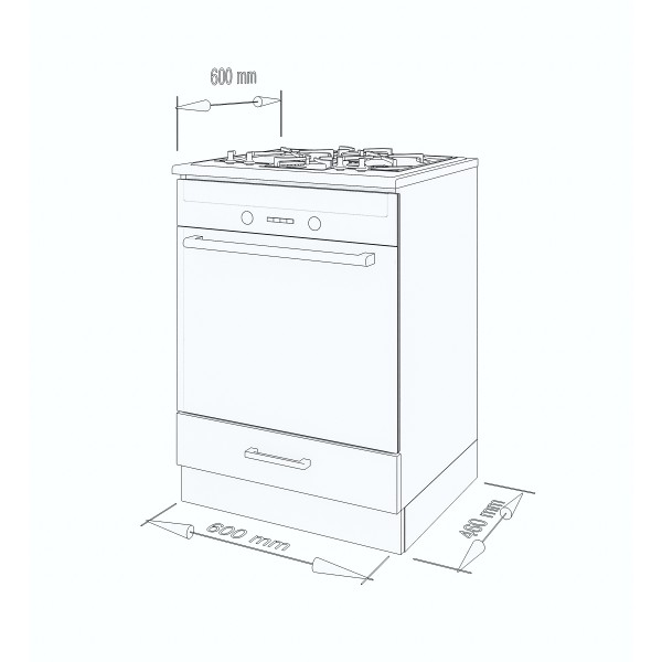 """Küchenzeilen Backofenschrank Blau 60 cm """"Lux"""" (3010) , küche, KCHENZEILE, KCHENBLOCK, WINKELKCHE"""