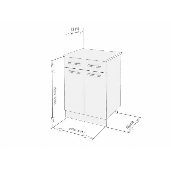 """Küchenzeilen Unterschrank Schwarzlack 60 Cm """"LUX"""" (3007) , küche, KCHENZEILE, KCHENBLOCK, WINKELKCHE"""