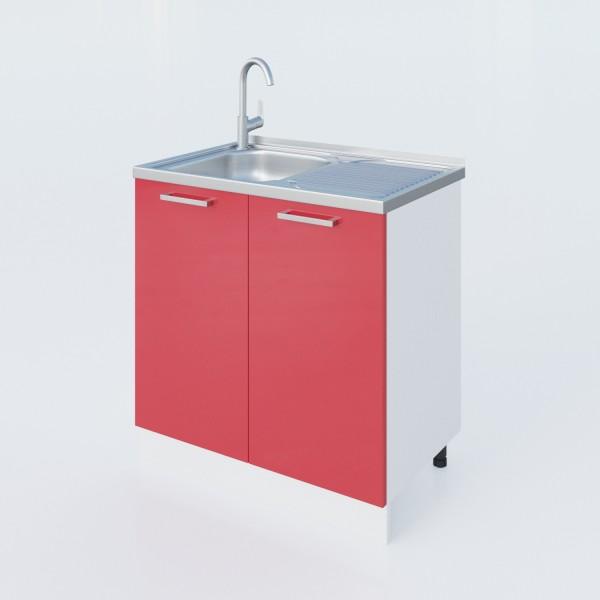 """Küchenzeilen Spülunterschrank Rot  80 Cm """"LUX"""" (3009) , küche, KCHENZEILE, KCHENBLOCK, WINKELKCHE"""