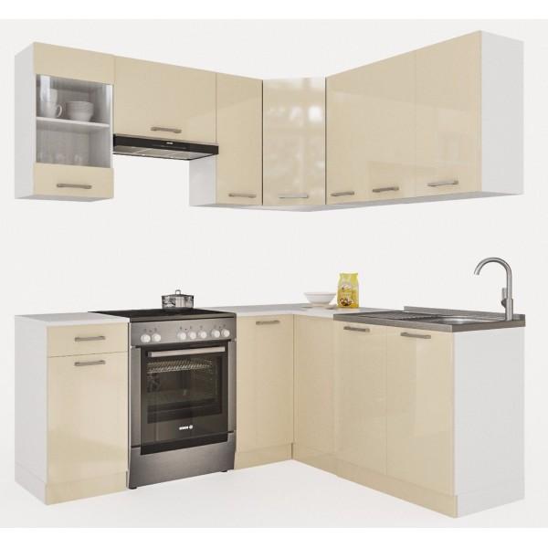 Küchenzeilen MARTHA 190x170 CREAMELACK , küche, KCHENZEILE, KCHENBLOCK, WINKELKCHE